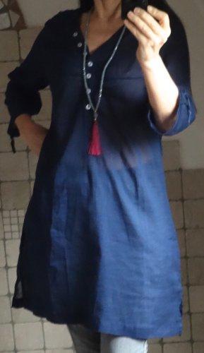 Tunika von aqua, sehr leichter, luftiger Stoff, ideal für Sommertage dunkelblau, kurzes Kleid, Strandkleid, 100% Baumwolle, Longtunika, Knopfleiste, Schlitze an den Seiten, kleiner V-Ausschnitt, 3/4 Arm, neu, ungetragen, Gr. M Gr. 38/40