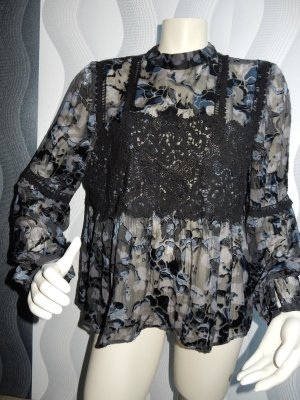 Topshop Tunic Blouse steel blue-black silk
