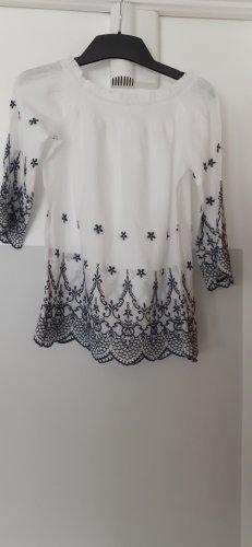 Vintage Dressing Bluzka typu carmen biały-ciemnoniebieski Wiskoza