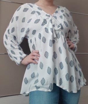 Amisu Blusa de túnica blanco-azul celeste