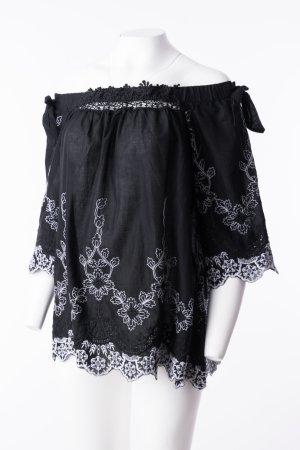 Tunikabluse mit floralen Stickereien Schwarz-Weiß One Size NEU