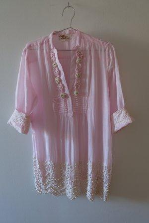 Antica Sartoria Tunic Blouse natural white-pink cotton