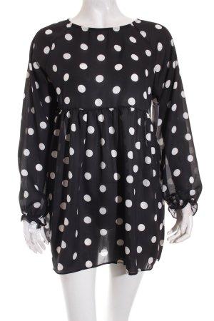 Tunikabluse schwarz-weiß Punktemuster Casual-Look