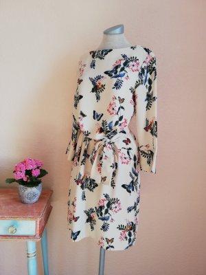 Tunikakleid 3/4 Arm Schmetterlinge Blumen Kleid Minikleid Gr. 38 S M neu
