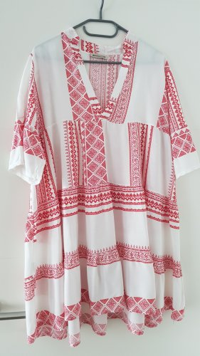 New Collection italy Robe tunique blanc-rouge