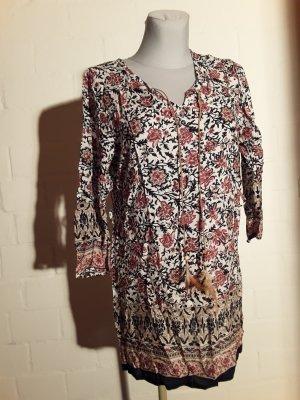 Sukienka tunika ciemnoniebieski-jasnobeżowy Bawełna