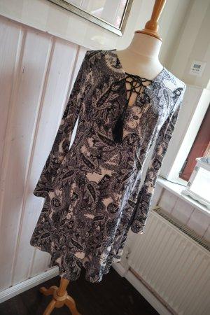 Tunikakleid Minikleid mit Paisley Muster Schwarz & Weiß