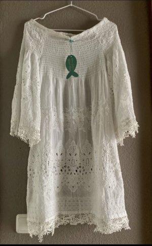 Antica Santoria Sukienka tunika biały-w kolorze białej wełny
