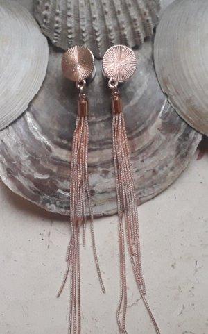 Pendientes de cuentas color rosa dorado metal