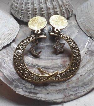 Pendientes de cuentas color oro metal