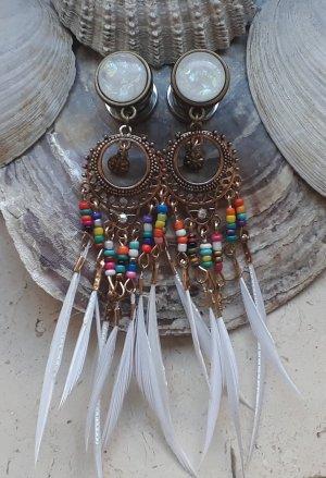 Boucle d'oreille incrustée de pierres bronze