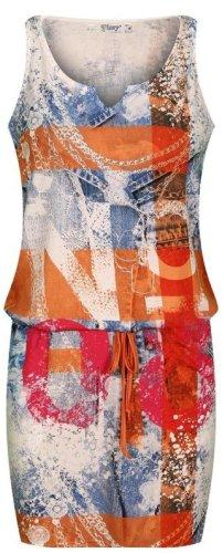 Tunnelzug Stretch-Kleid - Orange/Colour - Number-Print - Größe M 36/38