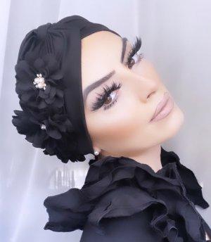 Chapeau en tissu noir-blanc