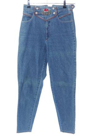 High Waist Jeans blau Motivdruck Casual-Look