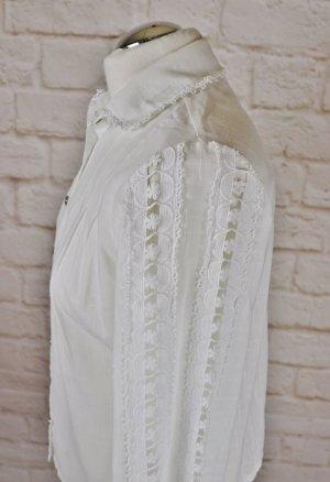 Ture Vintage Weiße Spitzenbluse Bluse Größe Struktur Kurzbluse Spitze Weiß Folklore Trachten Borte
