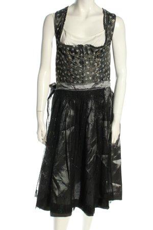 Turi Landhaus Dirndl black-light grey flower pattern wet-look