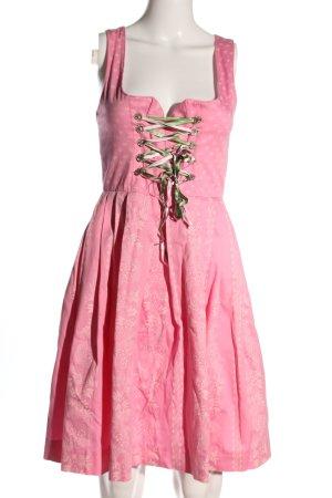 Turi Landhaus Vestido Dirndl rosa estampado repetido sobre toda la superficie