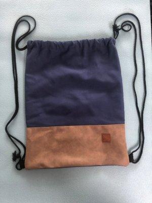 Bolso de tela azul oscuro-beige