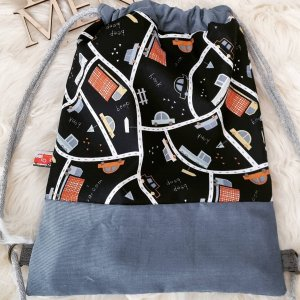 Handmade Kindergarden Backpack grey-blue