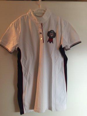 Pikeur Blusa de cuello alto blanco