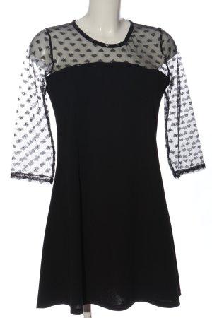 Turnover A-Linien Kleid schwarz Motivdruck Elegant