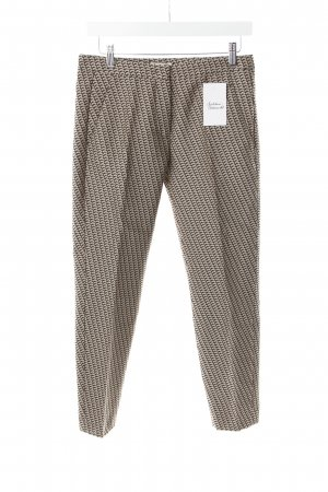 Turnover Pleated Trousers cream-dark brown graphic pattern