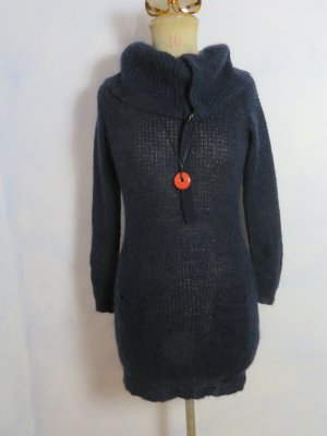Turnover Knitted Dress dark blue