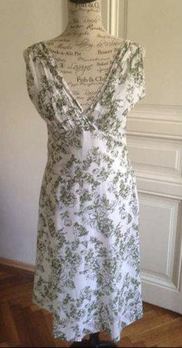 Turnover Midi Dress white-green grey cotton