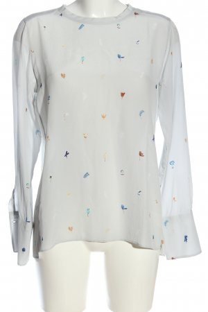 Turnover Long Sleeve Blouse allover print business style