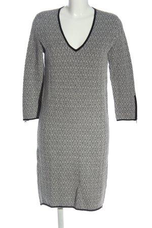 Turnover Pulloverkleid hellgrau-schwarz grafisches Muster Casual-Look