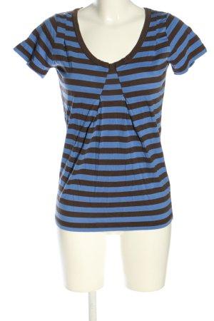 Turnover T-Shirt blau-braun Streifenmuster Casual-Look