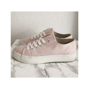 Turnschuhe Sneaker rosa weiss Schnürschuh Stoffschuhe Schnürer mit Plateau Plateausneaker Größe 41