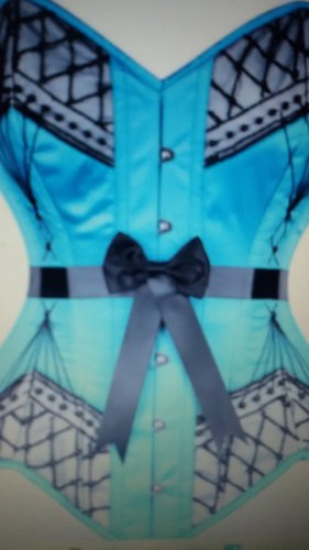 Turquoise Prom Corset, 24 inch, Gr. 36