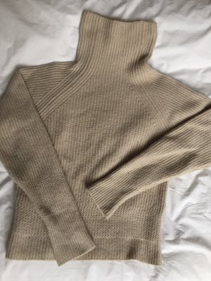 Turtleneck Strickpullover beige/ Grau