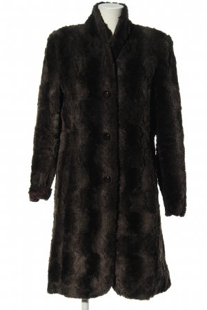 Tuzzi Fake Fur Coat black-light grey abstract pattern casual look