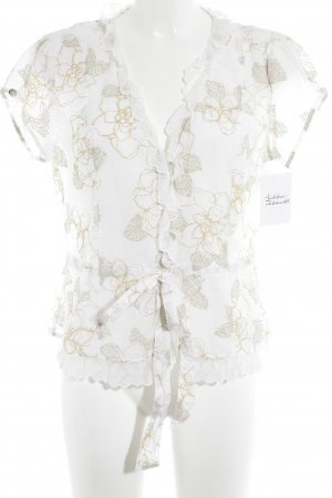 Tuzzi Kurzarm-Bluse weiß-sandbraun Blumenmuster Business-Look