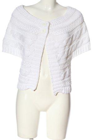 Tuzzi Dzianinowa kurtka z krótkim rękawem biały Warkoczowy wzór