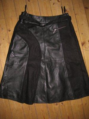 Tuzzi Leder Leinen Rock schwarz Gr 38