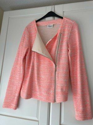 Tweed Bikerjacke Blazer weiß rosa Koralle Gr. 38 wie neu