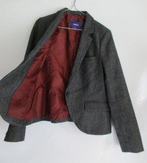Tweed Blazer Jacke MEXX Größe 42 Wollblazer Einstecktuch Braun Grau Schwarz Revers V-Neck Weinrot Business Büro