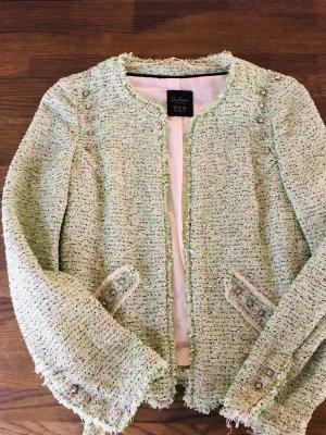 Tweed Blazer / Neongrün & Weiß & Nieten
