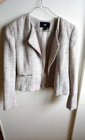 H&M Tweed Blazer silver-colored-light grey