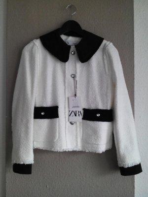 Tweed-Jacke mit abnehmbaren Ärmeln und Kragen aus 100% Baumwolle, Größe S neu