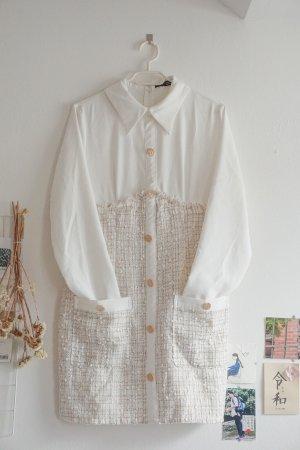 Tweed-Kleid mit Knopfleiste vorne in Kontrastfarbe