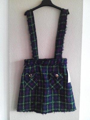 Zara Basic Pinafore Overall Skirt multicolored cotton