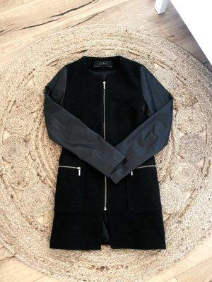 Tweed Mantel Jacke mit Lederärmeln Schwarz XS