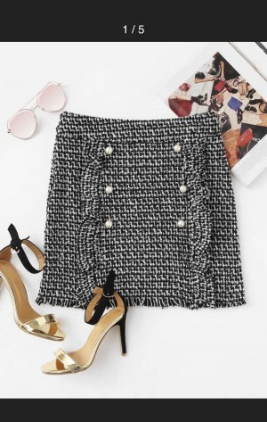 Tweed Skirt black-white