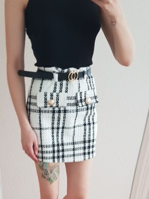 Tweed Skirt white-black