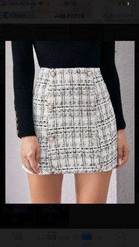 Tweed rok wit-zwart