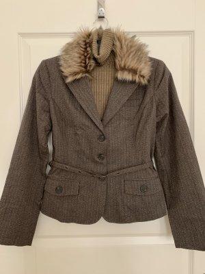 Amisu Blazer en tweed marron clair